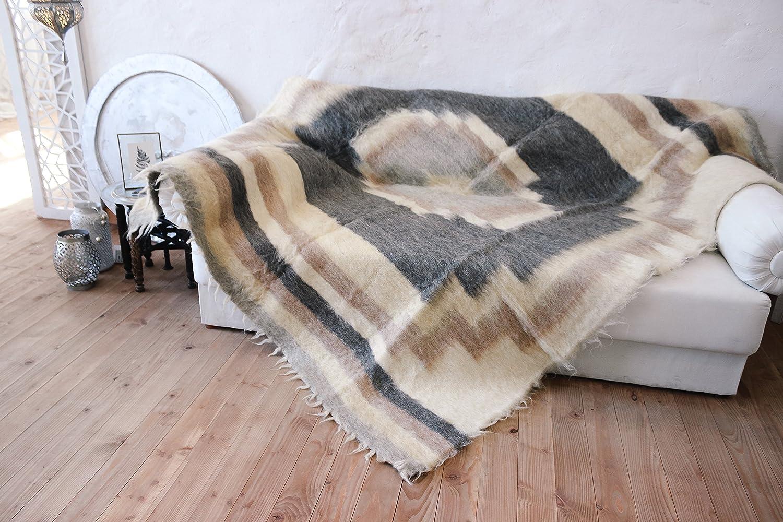 Manta de lana manta Reina edredón cama Natural hecho a mano ...