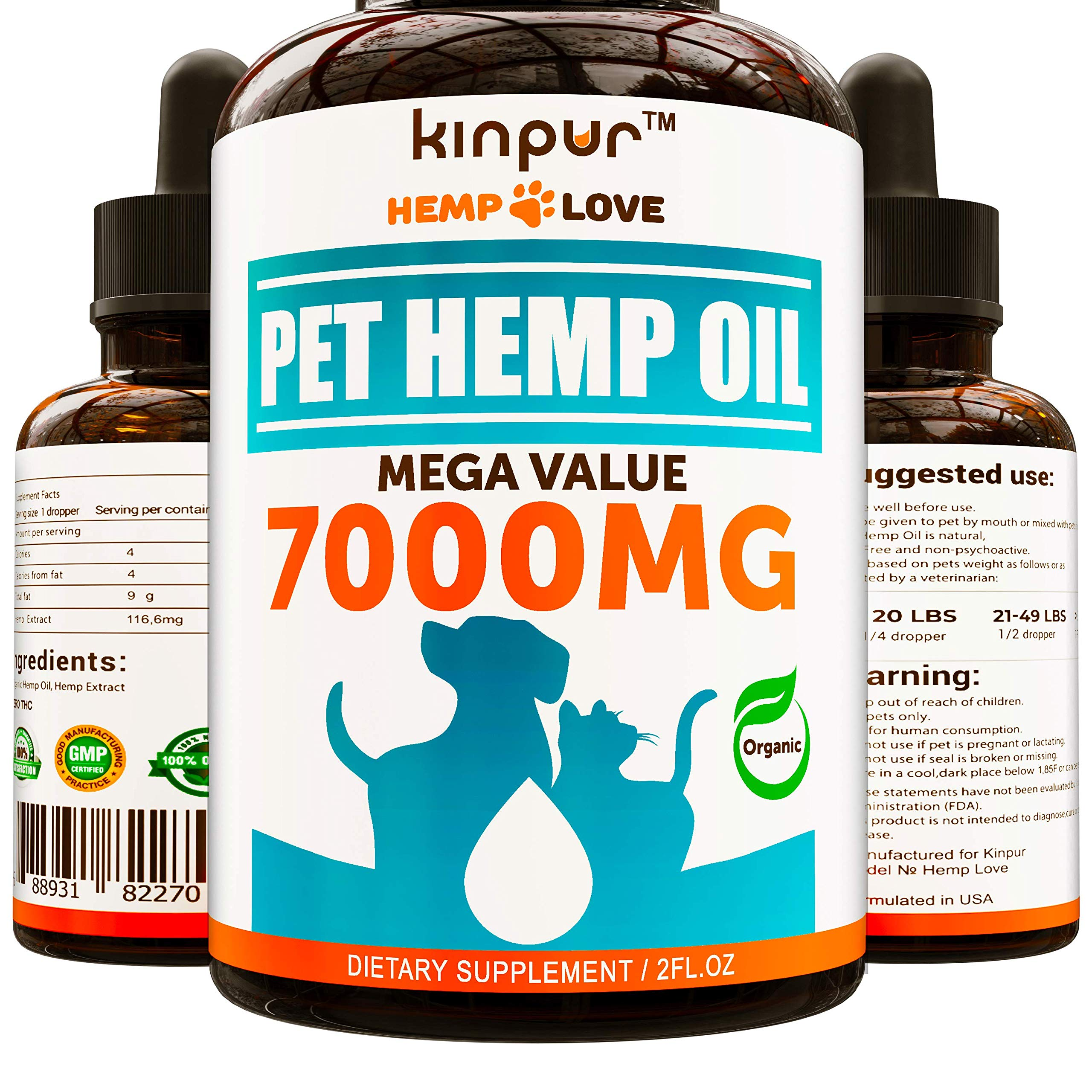 Natural Hemp Oil for Dogs & Cats - 7000MG - Premium Hemp Extract - Anxiety Relief for Dogs - Grown & Made in USA - Omega 3, 6 & 9 - Supports Hip & Joint by Kinpur