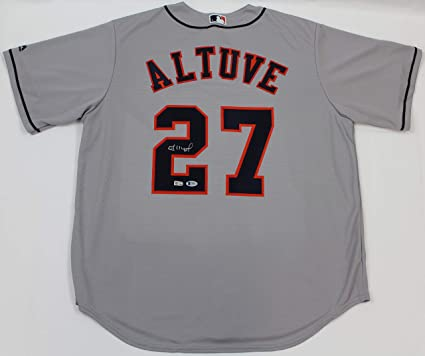 newest d3afe 9b6d4 Jose Altuve Autographed Gray Houston Astros Jersey - Hand ...