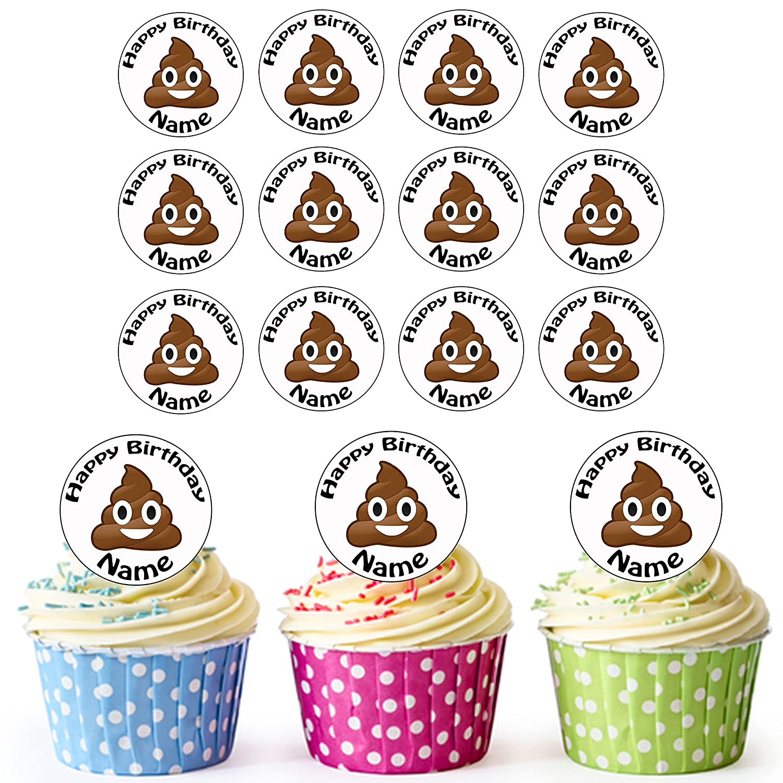 Poo Face Emoji Poop 24 Personalised Edible Cupcake Toppers/Birthday Cake Decorations - Easy Precut Circles