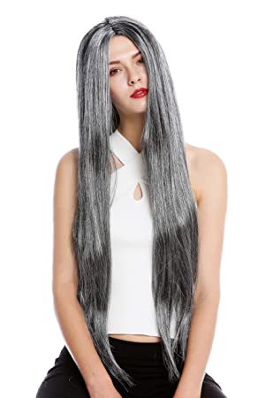 WIG ME UP ® - TH46 Peluca Mujer Hombre Carnaval Halloween Muy Largo Liso Raya Medio