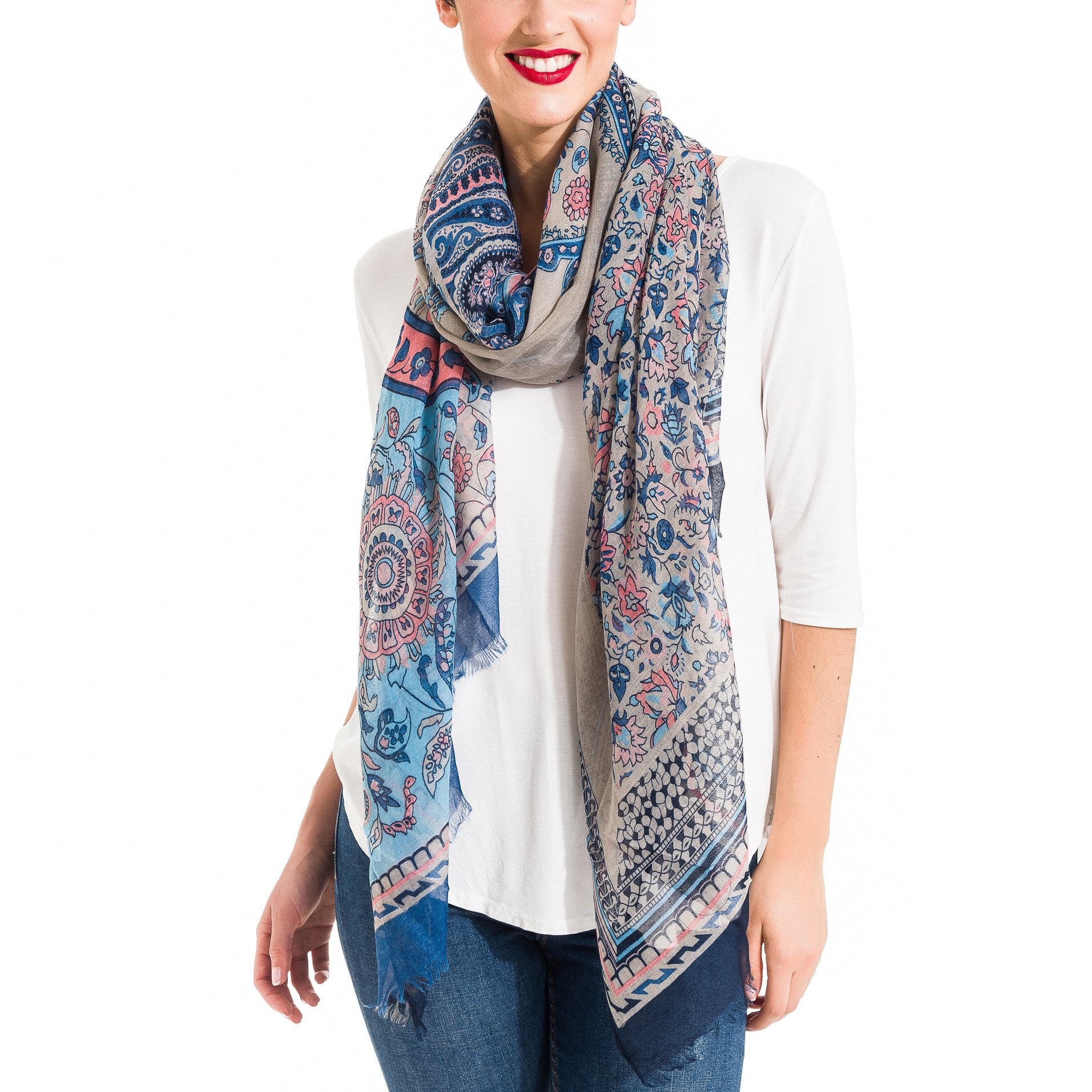 Scarf for Women Lightweight Paisley Fashion Fall Winter Scarves Shawl Wraps (SS28)