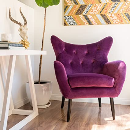 Halifax | Velvet Button Tufted Arm Chair | Fuchisa