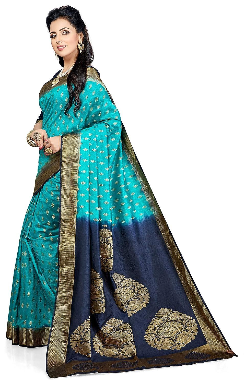 M.S. Retail Women's Kanjivaram Silk Saree with Blouse Fabric (W-4058, Turquoise and Navy Blue)