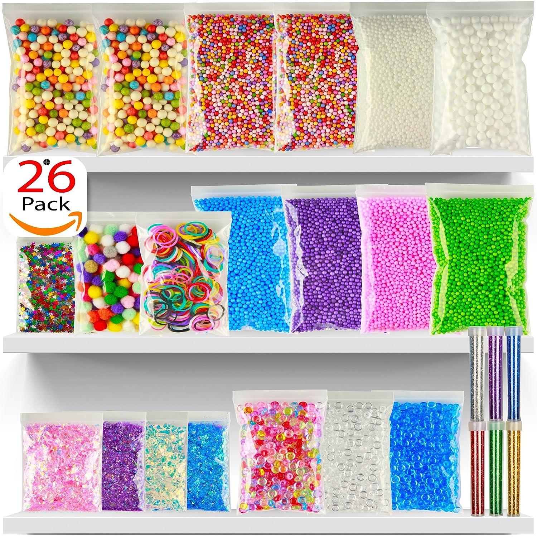 Foam Beads For Slime - 26Pack Slime Beads - Rainbow Floam Beads For Slime - Colorful Styrofoam Beads Kit - Foam Balls Set - Fishbowl Beads - Supplies For Slime Making Art DIY Craft For Kids Girls Boys Banisi World 4336848767