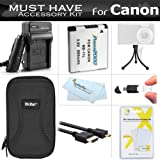 Must Have Accessory Kit For Canon PowerShot ELPH 340 HS, ELPH 360 HS Digital Camera Includes Extended Replacement (900maH) NB-11L Battery + Ac/Dc Charger + Micro HDMI Cable + Case + Mini Tripod + More