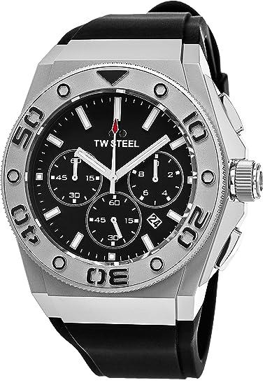 TW Steel CEO DIVER – Reloj de acero inoxidable esfera negra FECHA TW Steel – Reloj