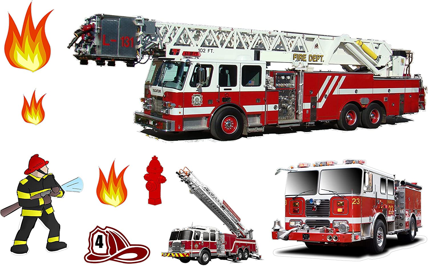 Rogue River Tactical Large Fire Truck Wall Decal Sticker Firefighter Set Boys Bedroom Wall Decor Decoration Firetruck Engine Peel and Stick