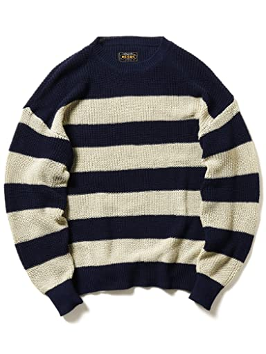 5 Gauge Cotton Rib Crewneck Sweater 11-15-1162-156: Beige / Navy