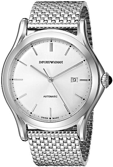 7d28d38b6a27 Emporio Armani Swiss Made Hombres ars3006 de cuarzo analógica Swiss  Plateado Reloj  Amazon.es  Relojes