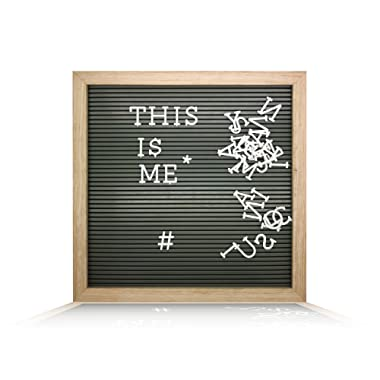 Plastic Letter Board (12  x 12 ) with 1 inch Letters - 188 Characters Include Plastic Letters, Numbers & Symbols, Changeable Letter Boards by Atoz Create, (Wooden Color Frame & Grey Board)