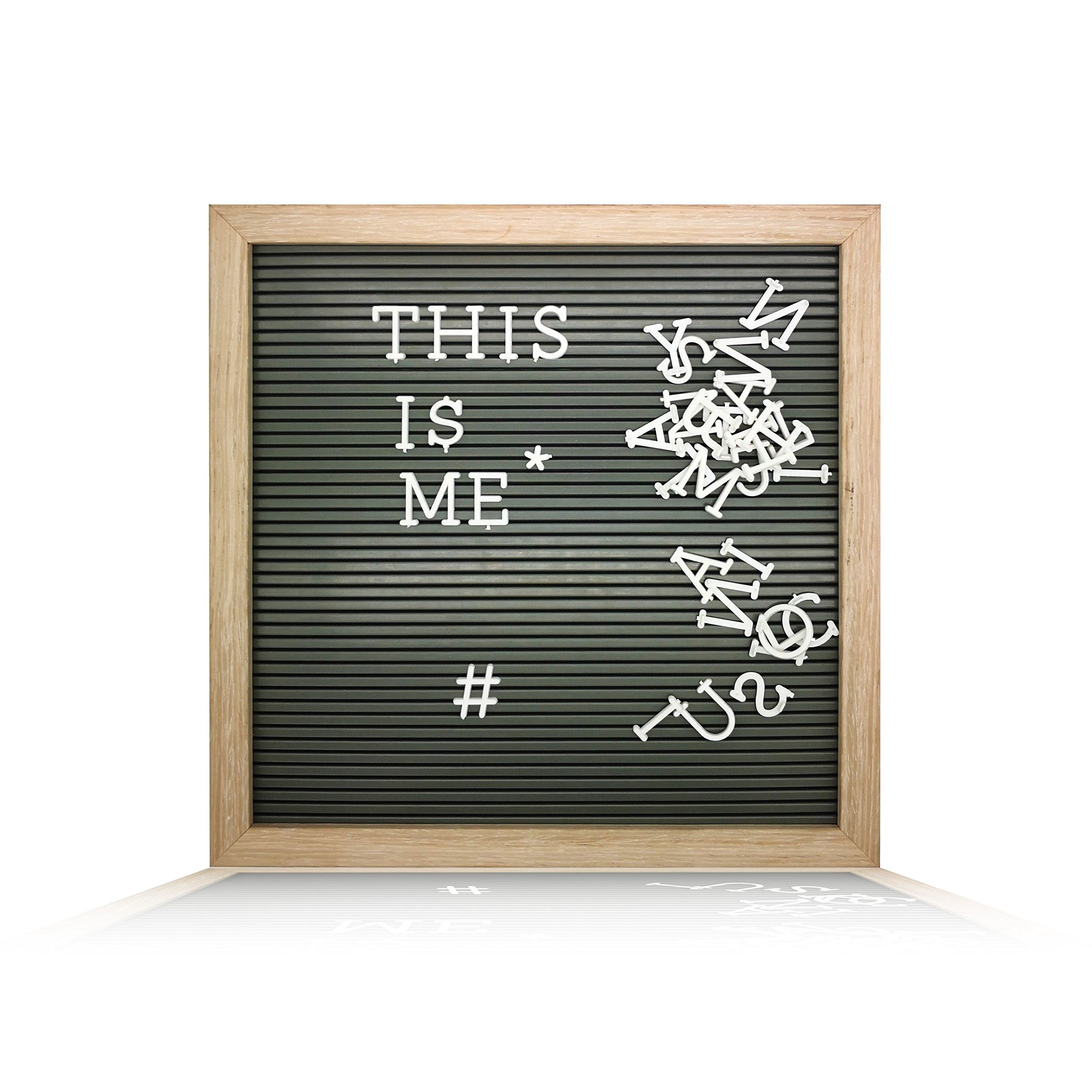 Plastic Letter Board (12'' x 12'') with 1 inch Letters - 188 Characters Include Plastic Letters, Numbers & Symbols, Changeable Letter Boards by Atoz Create, (Wooden Color Frame & Grey Board)