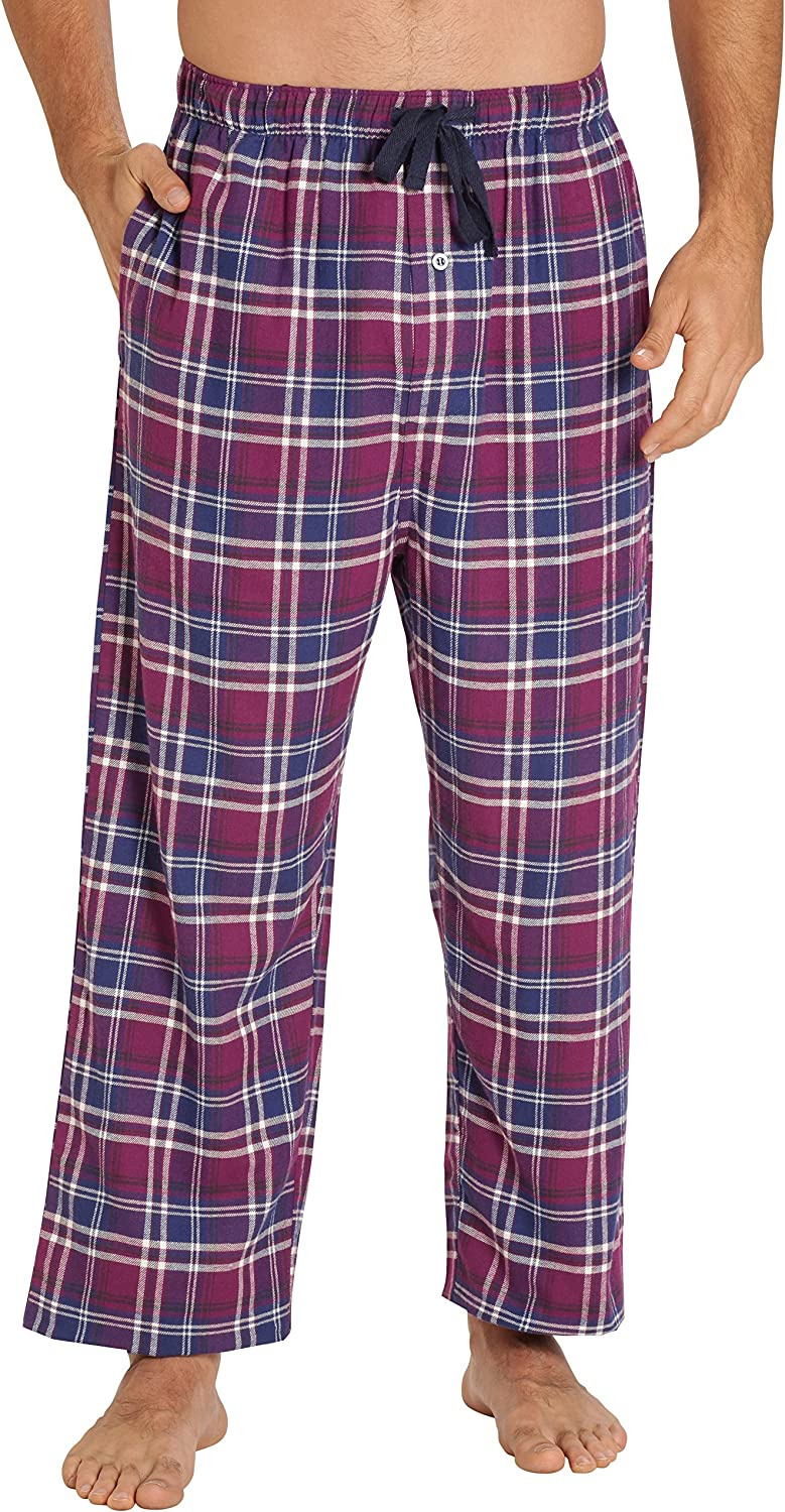 EVERDREAM Sleepwear Mens Flannel Pajama Pants, Long 100% Cotton Pj Bottoms
