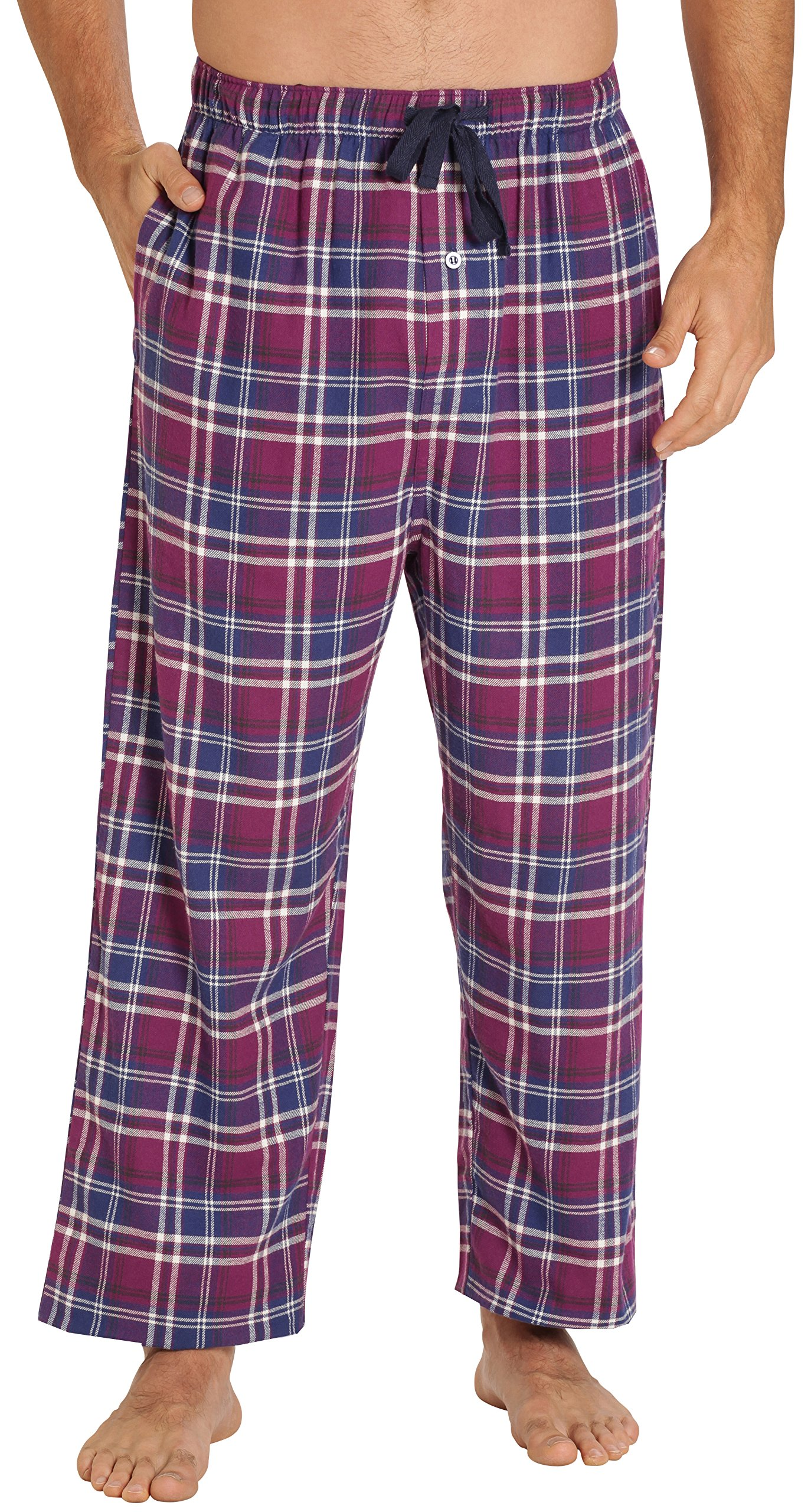 EVERDREAM Sleepwear Mens Flannel Pajama Pants, Long 100% Cotton Pj Bottoms,Size Large Purple