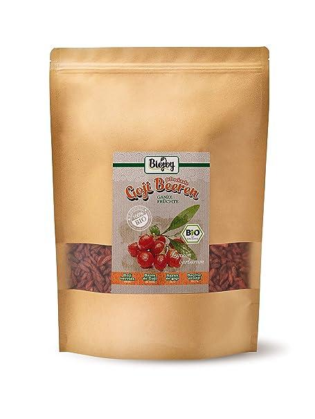 Biojoy Bayas de Goji orgánicas, sin azufre y azúcar Lycium barbarum (1 kg)