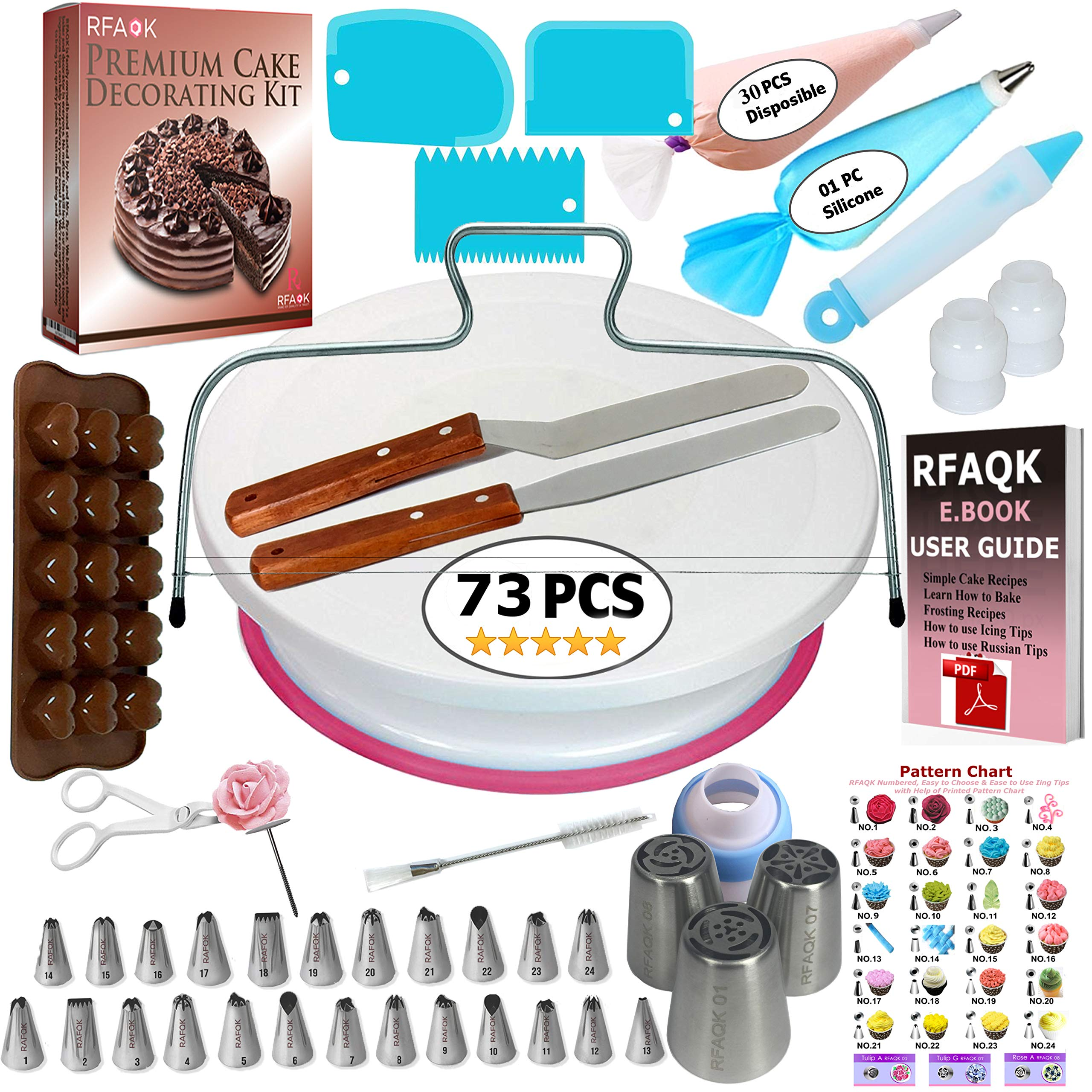 73 pcs Cake Decorating Supplies Kit for Beginners-1 Turntable stand-24 Numbered icing tips with pattern chart and E.Book-1 Cake Leveler-Straight & Angled Spatula-3 Russian Piping nozzles-Baking tools by RFAQK