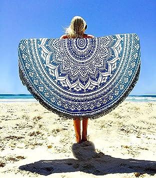 Aakriti Gallery Toalla de playa redonda, estilo mandala indio, algodón, esterilla de yoga o para picnic, 1,82 cm: Amazon.es: Hogar