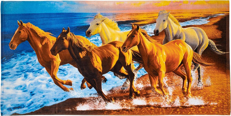 Horses on the Beach Cotton Beach Towel by Dawhud Direct DH-407