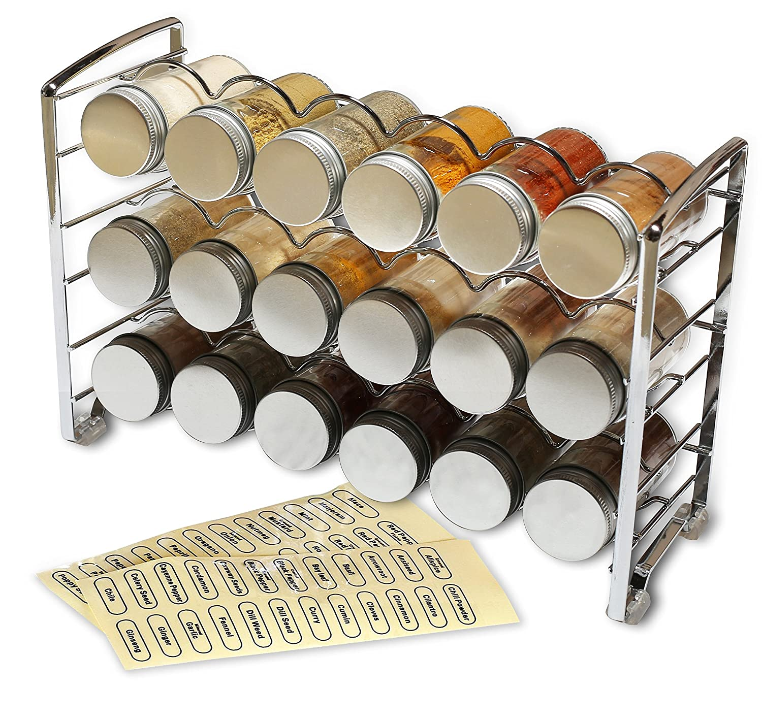 Amazon com decobros spice rack stand holder with 18 bottles and 48 labels chrome kitchen dining
