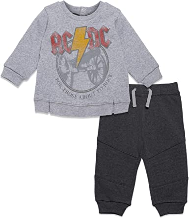 YtoaBmebqsu Long Sleeve AC DC 03 Cute Toddler Baby Clothes Black
