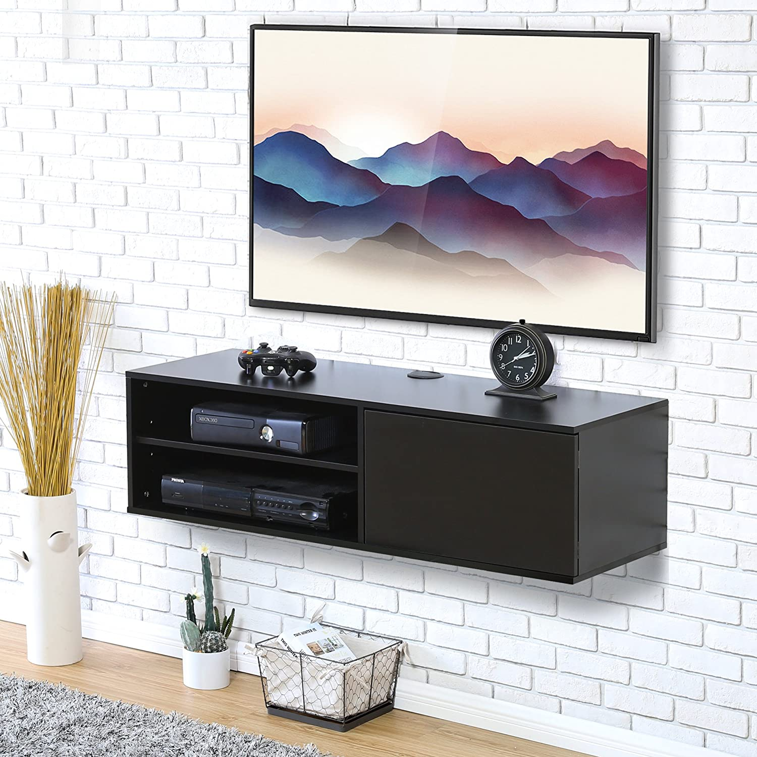 Fitueyes 2 Cube Wall Mounted Audio/Video Console Storage Cabinet Floating TV Stand Black AV Shelves DS310801WB
