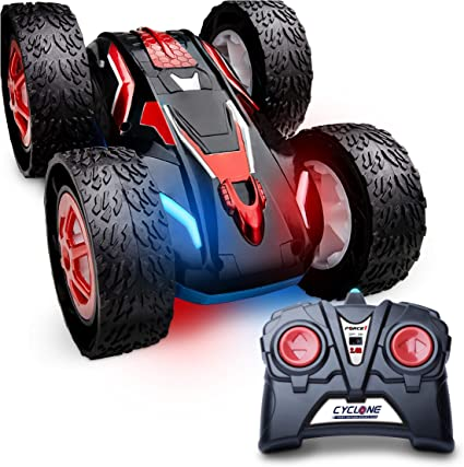 Amazon Com Force1 Cyclone Remote Control Car For Kids Double Sided Fast Off Road Stunt Car For Car Racing Rc Cars For Boys And Girls W 2 Rechargeable Toy Car Batteries Toys
