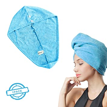 SOFTOWN Microfiber Fast Hair Drying Towel Turban with Buttons for Long hair, 1 Pack,