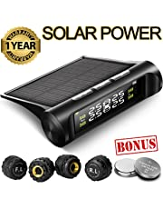 Favoto Tire Pressure Monitoring System TPMS Solar Power Universal Wireless with 4 External Sensors Real-time Display 4 Tires' Pressure & Temperature 22-87 PSI [2 More Battery] Pressure Gauge Auto