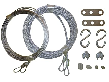 Garage Door Cable Replacement Kit Two 332 Inch X 14 Foot Long And Two 18 Inch X 13 Foot Long Galvanized Aircraft Cables Complete With 4 Cables