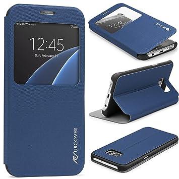 Urcover® Funda Compatible con Samsung Galaxy S7 Edge S-View Carcasa con Tapa Libro Wallet Case Delgada protección Pantalla con Ventana Flip Cover - ...