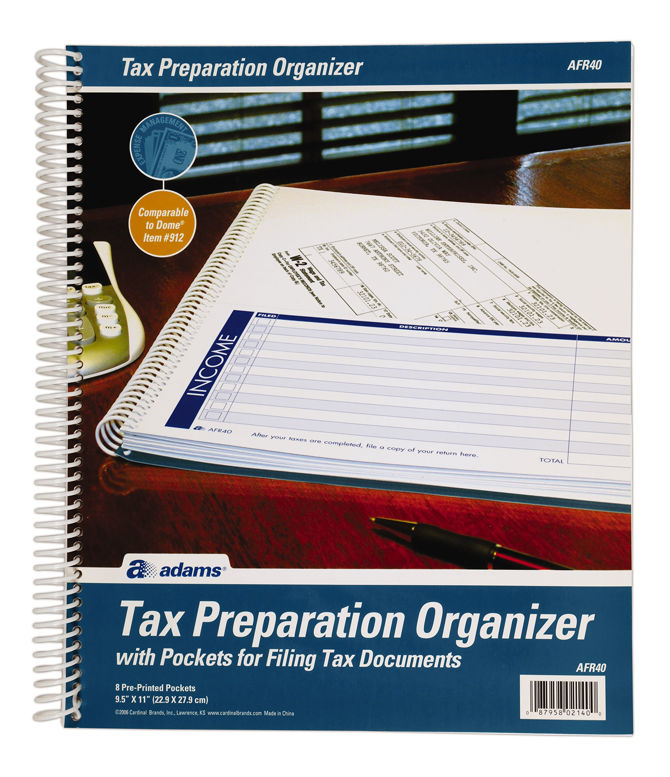 Adams Tax Record Organizer, 9.5 x 11 Inches, With 8 Pre-Printed Pockets (AFR40)