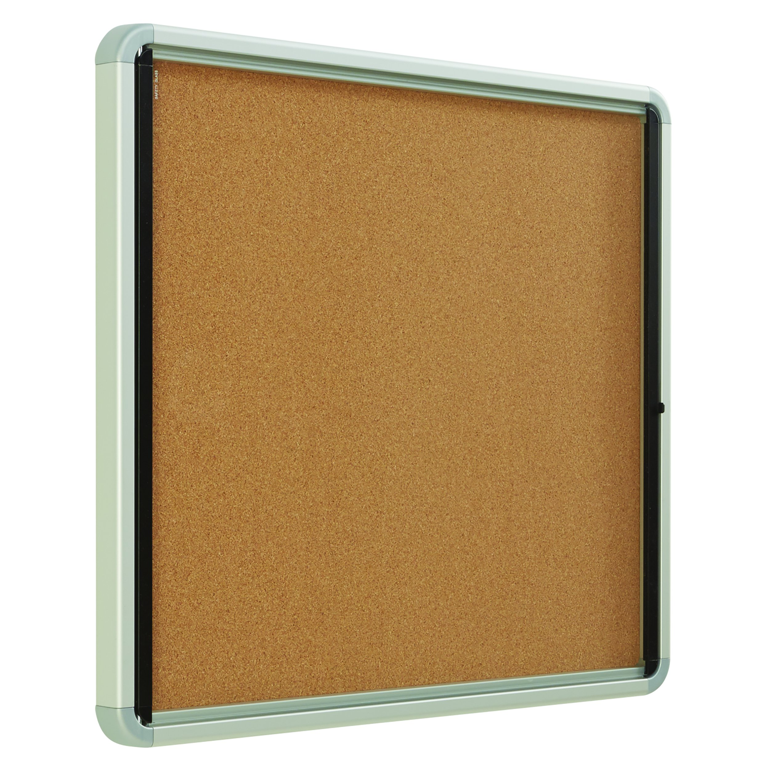 Quartet Enclosed Cork Bulletin Board, 30'' x 27'' or 6 Sheets, Swing Door, Aluminum Frame (EIHC2730)