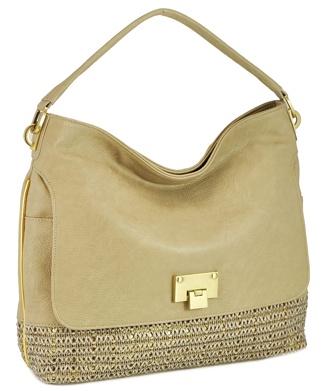 SR SQUARED by Sondra Roberts Pebbled Woven Metallic Bucket Shoulder Bag, Grey/Gold