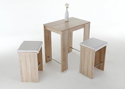 Set tavolo bar anna rovere sonoma composto da 1 tavolo 2