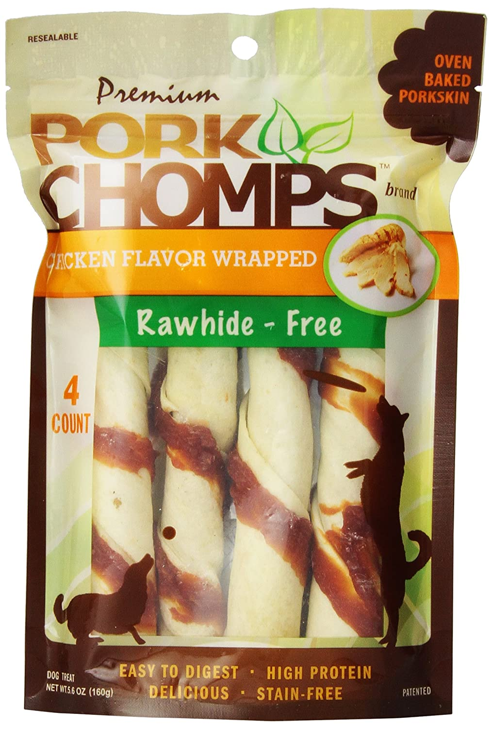 Premium Pork Chomps Twistz Chicken, Large 4ct