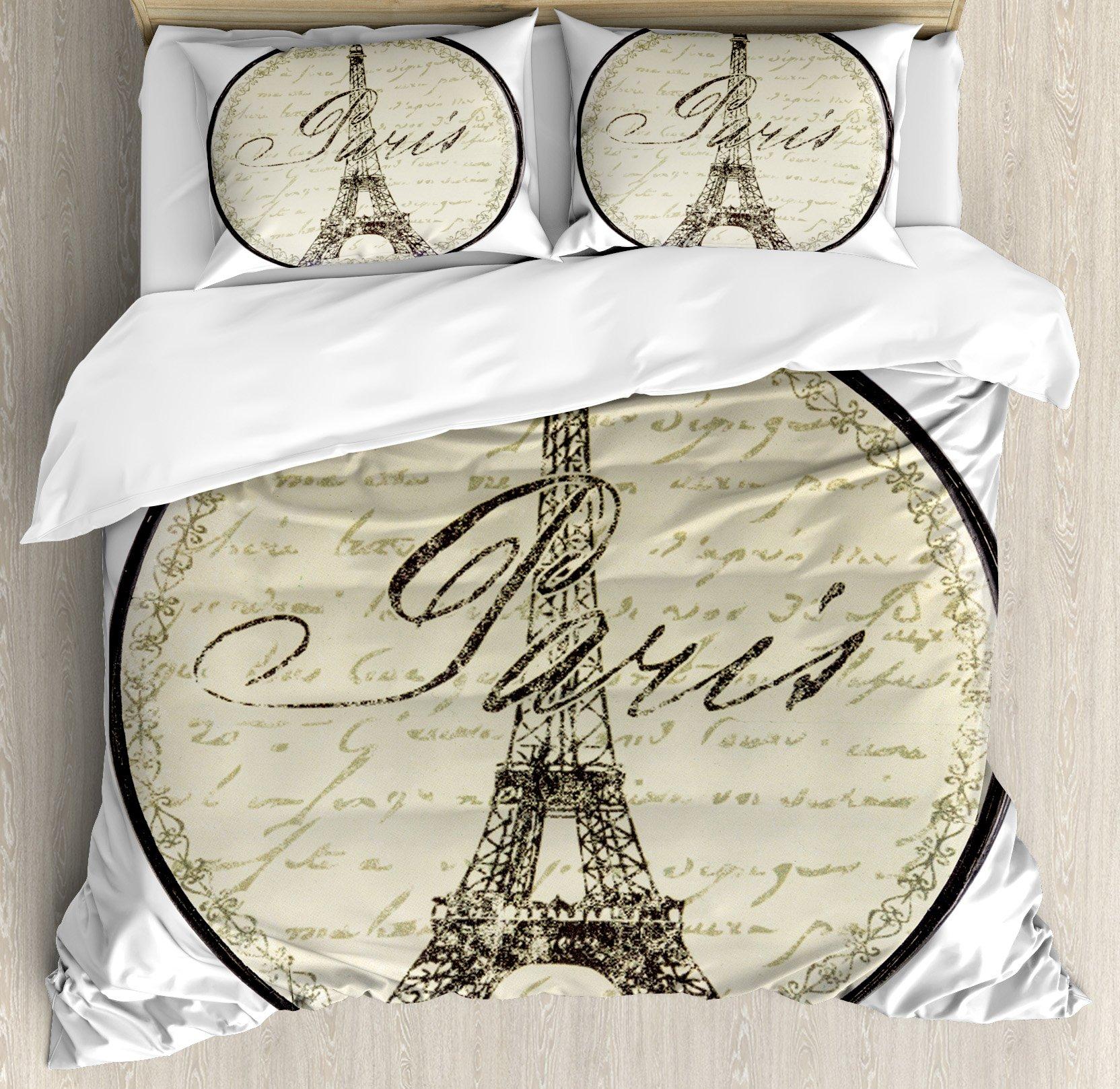 Paris Decor Duvet Cover Set Queen Size by Ambesonne, Vintage Wall Decorative Sign with Paris Theme Interior Famous Landmark Tourism, Decorative 3 Piece Bedding Set with 2 Pillow Shams