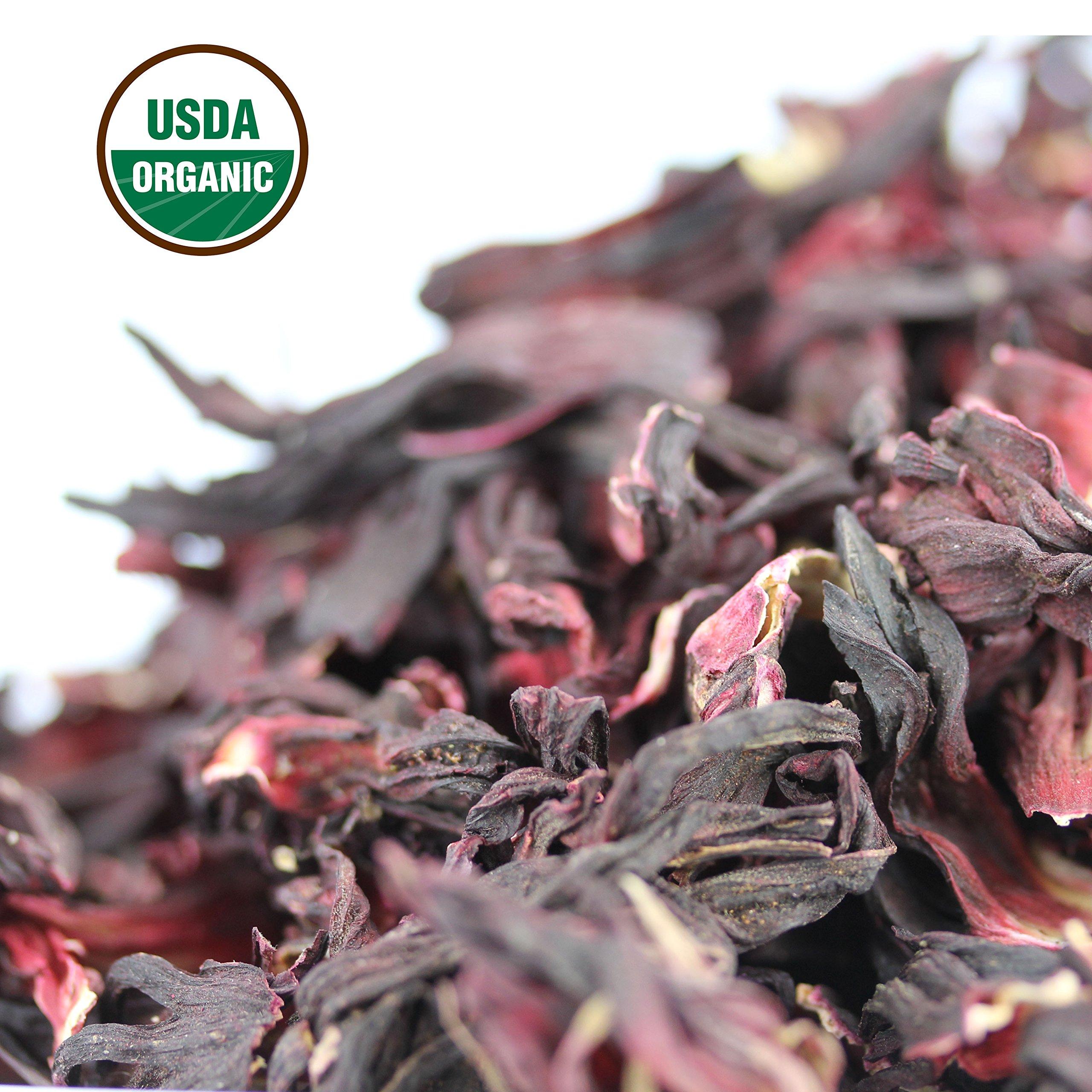 Hibiscus Tea 1LB (16Oz) 100% CERTIFIED Organic Hibiscus Flowers Herbal Tea (WHOLE PETALS), Caffeine Free in 1 lbs. Bulk Resealable Kraft BPA free Bags from U.S. Wellness by U.S. Wellness Naturals (Image #6)