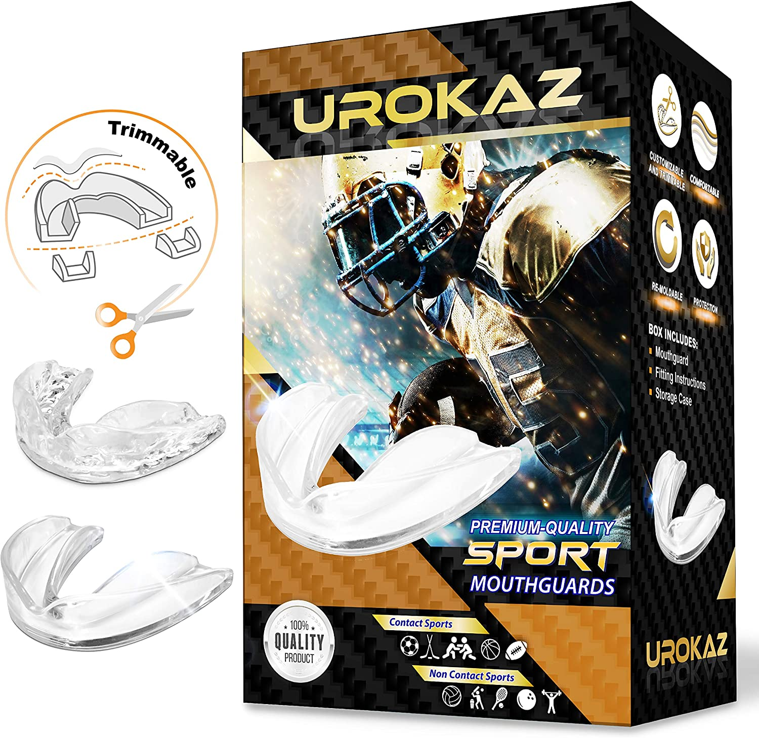 Basketball Hockey and All Contact Sports Adults and Junior Mouth Guard with Case for Boxing Martial Arts Football Lacrosse SAFEJAWZ Mouthguard Slim Fit MMA