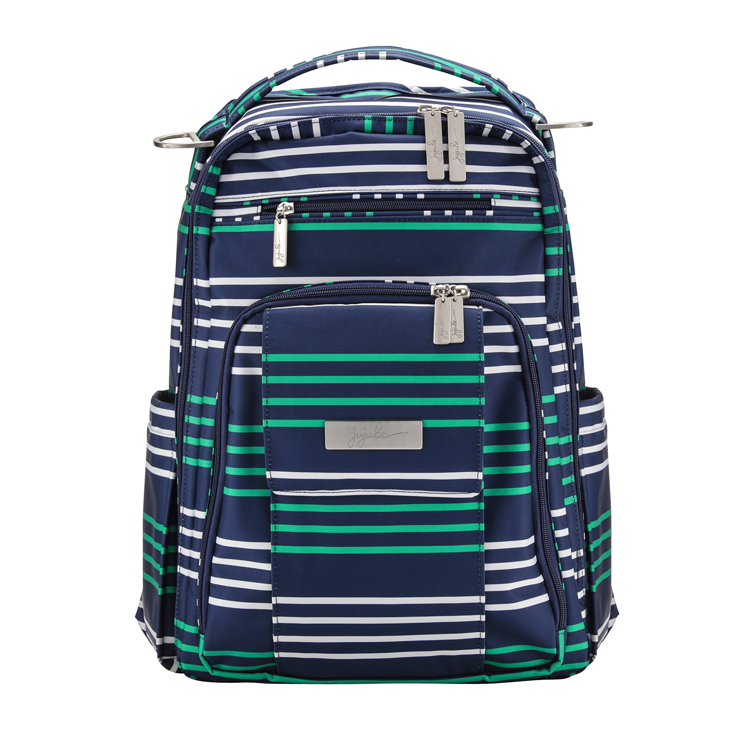 JuJuBe Be Right Back Multi-Functional Structured Backpack/Diaper Bag, Coastal Collection-Providence - Navy/Teal/White Stripes