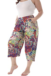 e47624c2b4635 ZERDOCEAN Women s Plus Size Modal Stretchy Relaxed Lounge Capris with  Pockets