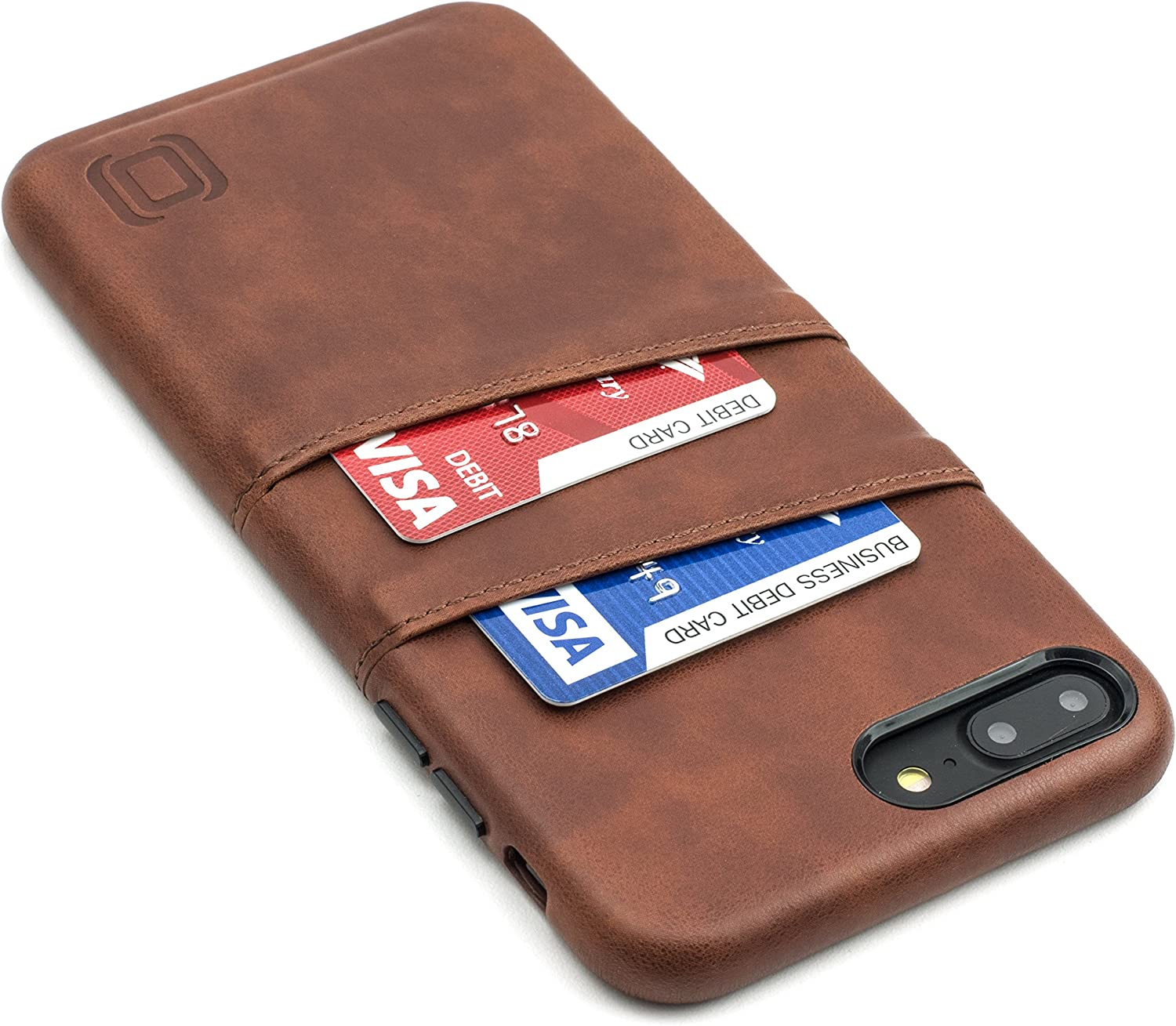 Dockem Exec Wallet Case for iPhone 8 Plus / 7 Plus - Slim Vintage Synthetic Leather Card Case with 2 Card/ID Holder Slots: Simple, Professional, Executive Snap On Cover [Brown]