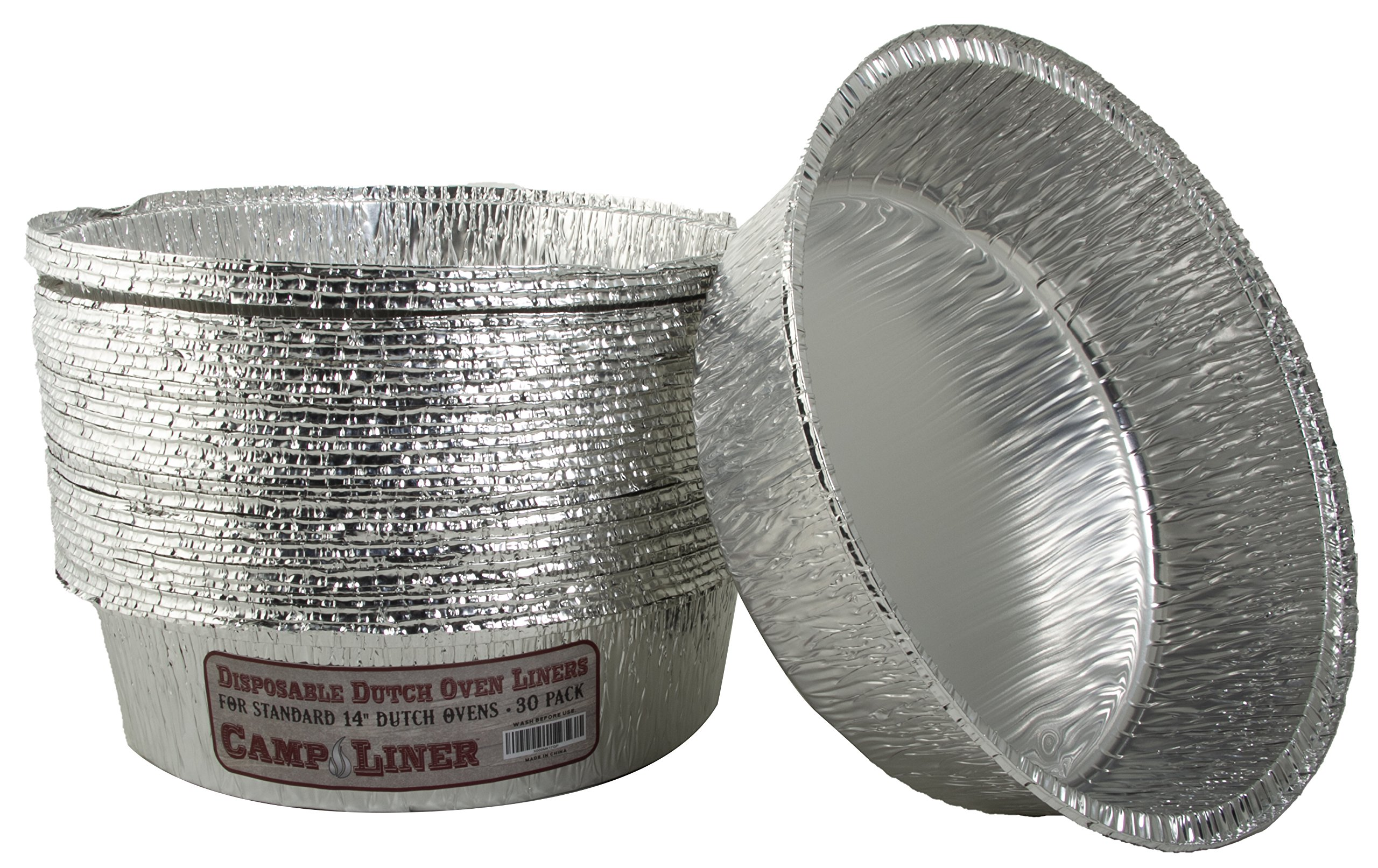 Campliner Dutch Oven Liners, 30 Pack of 14-Inch 8 Quart Disposable Liners - No More Cleaning or Seasoning. Fits Lodge, Camp Chef, and other Cast Iron Dutch Ovens by CAMP LINER (Image #1)