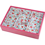 STACKERS 'CLASSIC SIZE' Fuchsia Deep 3 Stacking Jewelerry Box with Blue Floral Lining
