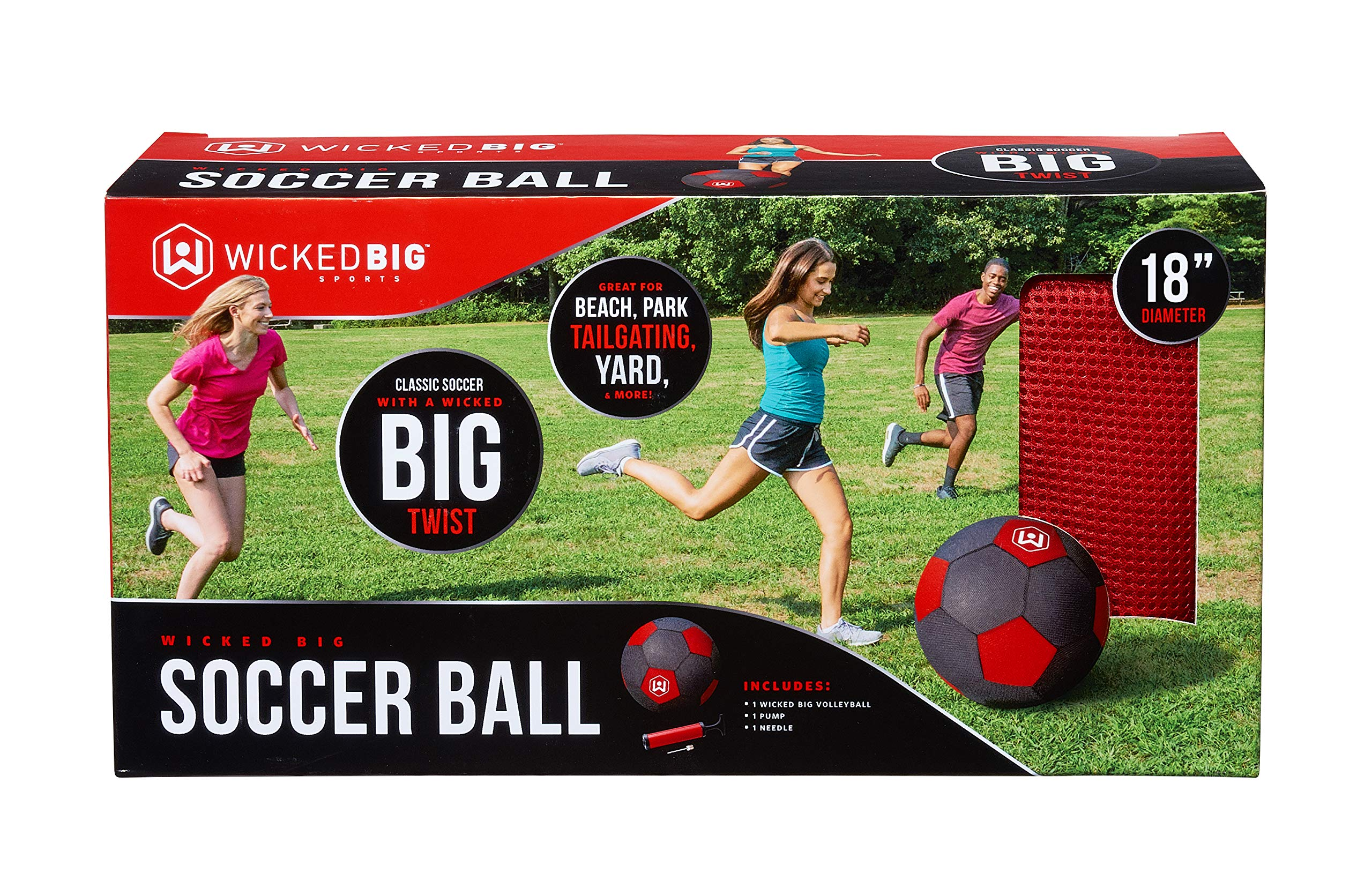 Wicked Big Sports Soccer Ball-Supersized Soccer Ball Outdoor Sport Tailgate Backyard Beach Game Fun for All, One Size, Red by WICKEDBIG SPORTS