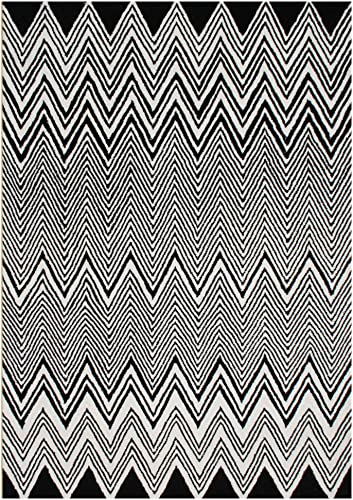 Git Mit Home Area Rugs, 5 x 8 , Black, Off-White-Cream