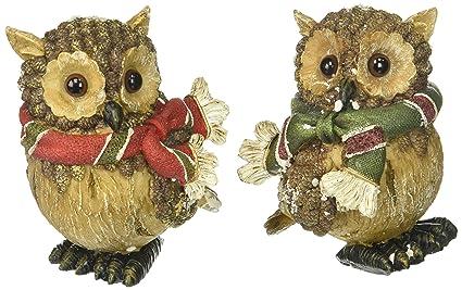 Amazon Com Set Of 2 Christmas Snow Owl Figurines Adorable Holiday