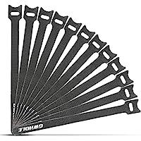 GWHOLE 50 pcs Self Gripping Reuseable Hook & Loop Cable Ties Fastener Stick Straps 20cmx1.2cm - Black