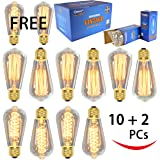 12 Pack - 60W - ST64 - E26 - 7 Squirrel Cage and 5 Spiral - dimmable - Vintage Edison Light Bulbs - Clear Glass - industrial vintage style - Youngever Home - 2 FREE