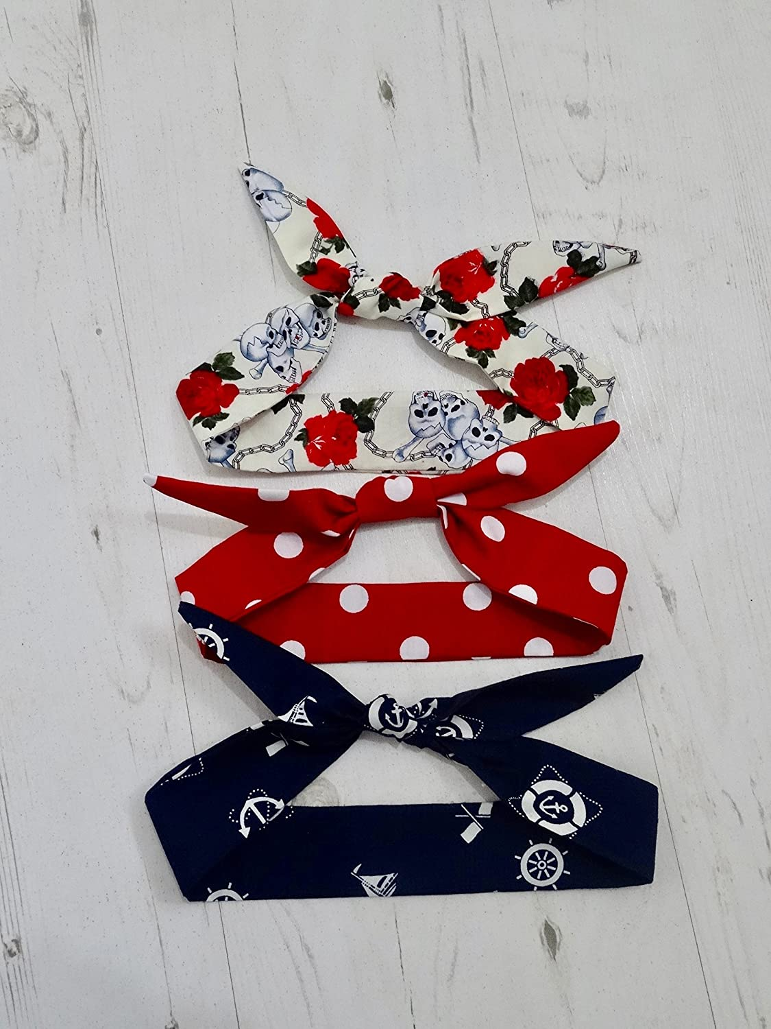 Baby Rockabilly 3 Head Scarf Set - Skull, Sailor and Polka Dot Tattoo - Cotton Shower Bandana Boy Girl Gift Unisex 1950s Pin Up Red