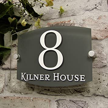 House Sign Address Plaques Door Number Slate Grey Modern Clear Glass